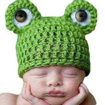 ทารกแรกเกิดถักโครเชต์ Fancyqube ทำเป็นหมวกหมวกกบสีเขียว