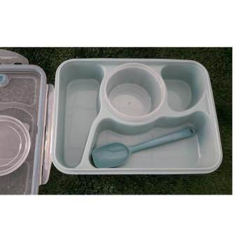 Baby Station กล่องอาหารเด็ก พกพา 4ช่อง พร้อมถ้วยซุป และช้อน สีฟ้า