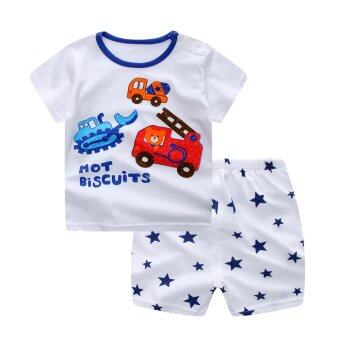 Harga Bear Fashion Baby Girls Boys Clothing Kids Summer Clothes Digging Machine Excavating Machinery 2pcs Set - intl