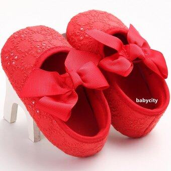 รองเท้าหัดเดิน รองเท้าเด็กผู้หญิง รองเท้าเด็กอ่อน รองเท้าเด็กพื้นผ้า baby shoe Prewalker ของใช้เด็กอ่อน สีแดง