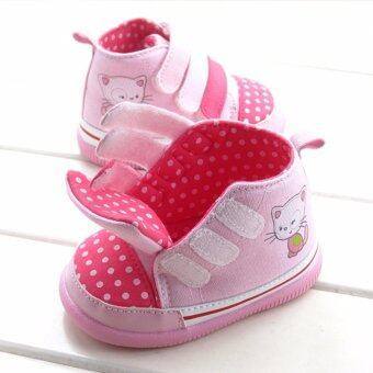 ((พื้นยางกันลื่น/น้ำหนักเบา))รองเท้าเด็กวัยหัดเดิน รองเท้าผ้าใบหุ้มข้อเด็ก สีสันสดใส Size 150
