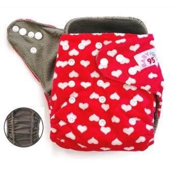 BABYKIDS95 กางเกงผ้าอ้อมชาโคลขอบปกป้อง +แผ่นซับชาโคล (Heart-Red Minky)