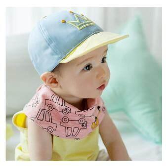 หมวกเด็กเล็ก ลายมงกุฏ ปักคำว่า HAPPY สีฟ้า-เหลือง สำหรับเด็ก 1-2 ขวบ