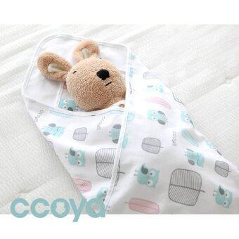 CCOYA ผ้าห่อตัวเด็กเกรดพรีเมี่ยม สีขาว ลายนกฮูก ขนาด 85 x 85 cm.