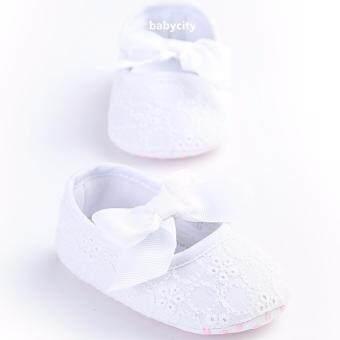 รองเท้าหัดเดิน รองเท้าเด็กผู้หญิง รองเท้าเด็กอ่อน รองเท้าเด็กพื้นผ้า baby shoe Prewalker ของใช้เด็กอ่อน สีขาว