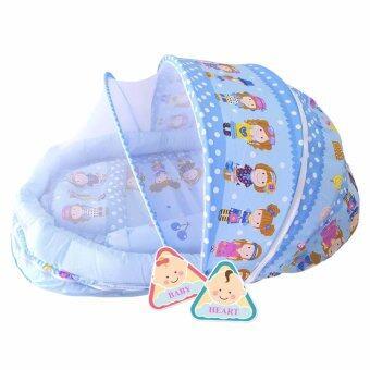 BABY heart ชุดที่นอนมุ้ง จัมโบ้รุ่น 2 in 1 พร้อมหมอนและ หมอนข้าง สีฟ้า