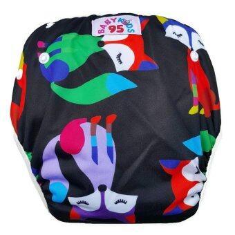 BABYKIDS95 กางเกงผ้าอ้อมว่ายน้ำ ปรับขนาดได้ รุ่น Digital Print ไซส์เด็กแรกเกิด-7 กก. ลายจิ้กจอก (สีน้ำเงิน)