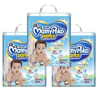 ขายยกลัง! Mamy Poko กางเกงผ้าอ้อม รุ่น Extra Dry Skin ไซส์ M แพ็ค 3 รวม 192 ชิ้น (สำหรับเด็กชาย)