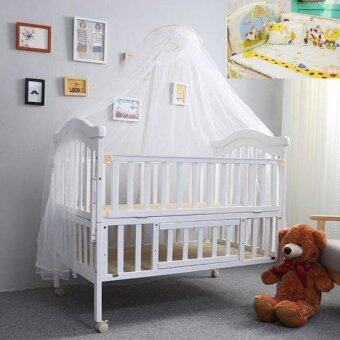 Baby Bed เตียงไม้เด็กสีขาวขนาดใหญ่ รุ่น Big White พร้อมเครื่องนอนสีเหลืองครีมลายสัตว์สุขสันต์ Happy Travel (สีขาว)