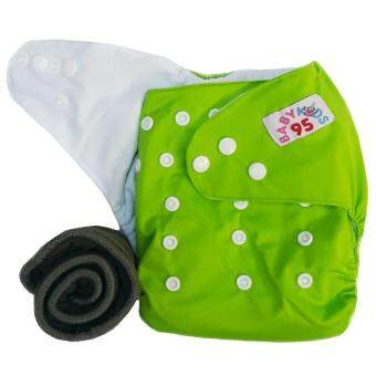 BABYKIDS95 กางเกงผ้าอ้อมกันน้ำ+แผ่นซับชาโคล Size:3-16กก. (Green)