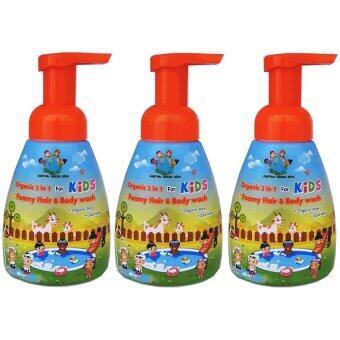Organic 2 in 1 For Kids Foam hair and Body washแชมพู จากธรรมชาติ สำหรับ สระผม และ อาบน้ำ สูตรออร์แกนิค3ชิ้น