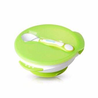 Kidsme ชุดชามก้นดูด พร้อมช้อนวัดอุณหภูมิ (สีเขียว)