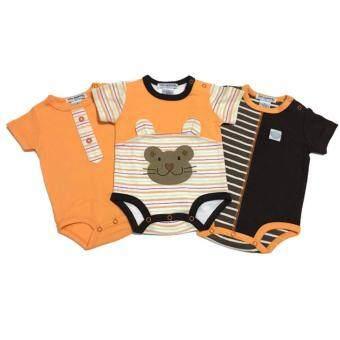 LITTLE BABY M เสื้อผ้าเด็กเล็ก บอดี้สูท set หมีสีส้ม 3 ตัว