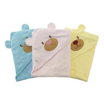 First-wear ผ้าห่อตัวเด็ก cotton 100% ลายหัวหมีน่ารัก Set 3 ชิ้น (สีฟ้า, สีชมพู, สีเหลือง)