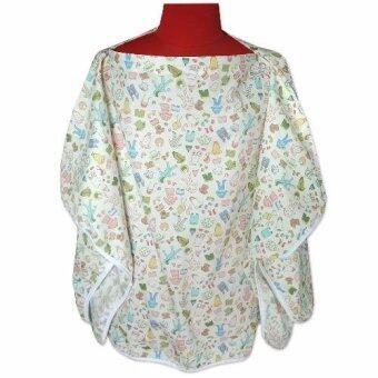 PalmandPond เสื้อคลุมให้นม เต็มตัว มีโครง (ลายเสื้อผ้า-สีขาว)