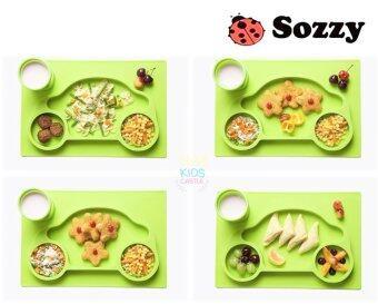 จานซิลิโคนทานอาหารเด็กน้อย ลายรถเต่าสีเขียว Sozzy