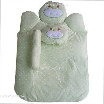 Babi Care ที่นอนใยสังเคราะห์หมี พร้อมหมอน+หมอนข้าง (สีเขียว) 1 ชุด