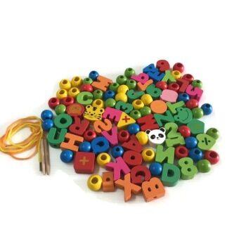 BAANPLOYชุดร้อยเชือกตัวอักษรตัวเลขและลูกปัด100ชิ้น แบบถัง