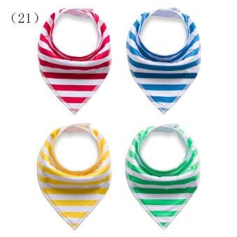 [Four-Piece 100% COTTON]Baby triangular bandage Pure cotton saliva towel bib 12# (image 4)
