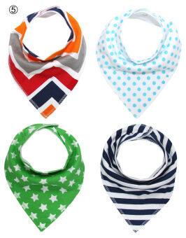 [Four-Piece 100% COTTON]Baby triangular bandage Pure cotton saliva towel bib 12# (image 2)
