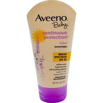 Aveeno, Baby, Continuous Protection Lotion, Sunscreen, SPF 55, Fragrance Free, 4 oz (112 g) ครีมกันแดดเด็กและผู้ใหญ่ SPF 55