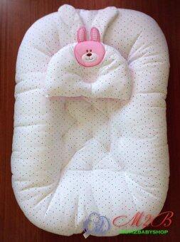 Mum2baby ที่นอน รังผึ้งcotton100% ลายจุด ขนาด60x96x15cm. สี ชมพู
