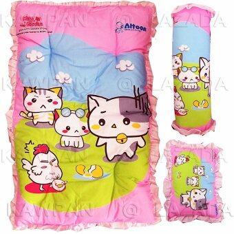 Attoon ชุดที่นอน ลายแคตตี้ หมอน + หมอนข้าง (สีชมพู)
