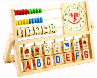 KIDSSHOP HATYAI ของเล่นไม้ชุดเรียนรู้คำศัพท์ นาฬิกา+ลูกคิด+ตัวเลข และ ABC