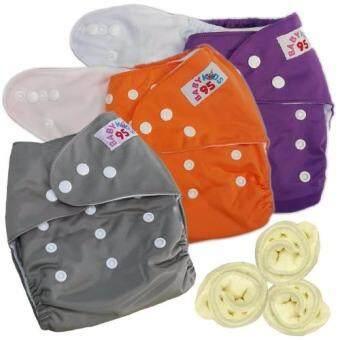 กางเกงผ้าอ้อมกันน้ำ+แผ่นซับไมโครฯ Size:3-16กก. เซ็ท3ตัว (Purple/Orange/Grey)