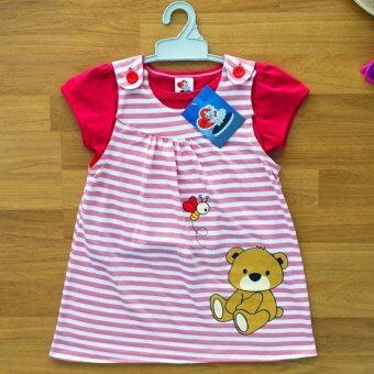Lulu Caty ไซส์ 4 (3-4 ปี) เซ็ต 2 ชิ้น ชุดเอี๊ยม ชุดกระโปรง เด็กหญิง และเสื้อด้านใน ลายริ้วชมพู ลูกหมี