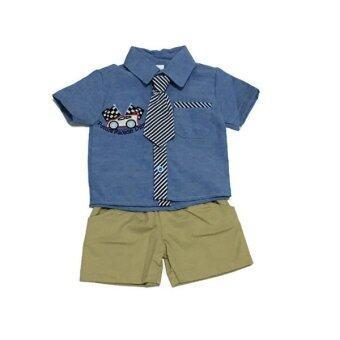 ฺBaby เซ็ทเสื้อผ้าเด็กชาย 3ชิ้น ( เสื้อเชิ๊ต+เนคไท+กางเกง ) สีฟ้า