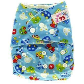 BABYKIDS95 กางเกงผ้าอ้อมซักได้ ชนิดกันน้ำ รุ่นดีลักส์ ไซส์เด็ก 3-16กก. (สีฟ้าลายรถ)