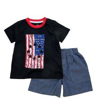 Babycony เสื้อยืดแขนสั้นสีดำสกรีนลายธงชาติ USA + กางเกงขาสั้นเข้าชุด