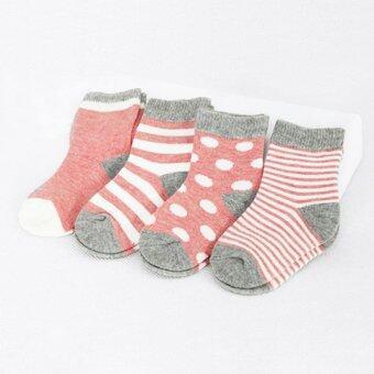 Baby Touch ถุงเท้าเด็ก ยาวบาง เซตทูโทน 4 คู่ (ชมพู)