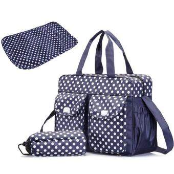Harga Fashion Nappy Diaper Bags Large Capacity Dots Pattern Mummy Bag Changing Bag (Blue)