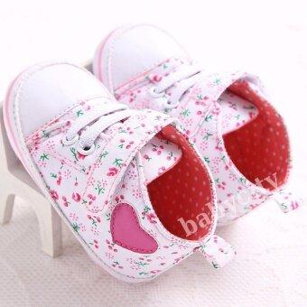 รองเท้าหัดเดิน รองเท้าเด็กอ่อน รองเท้าเด็กพื้นผ้า baby shoe Prewalker ของใช้เด็กอ่อน รองเท้าทารก รองเท้าเด็กเล็ก รองเท้าบูทเด็กอ่อน สีดอกไม้เล็ก ชมพู