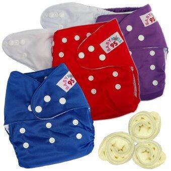 กางเกงผ้าอ้อมกันน้ำ+แผ่นซับไมโครฯ Size:3-16กก. เซ็ท3ตัว (Purple/Red/Dark Blue)(Multicolor Others)