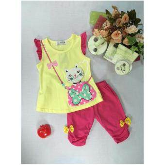 ple shop เสื้อแขนระบายลายแมวสีเหลือง+กางเกงเลคกิ้งสีชมพู
