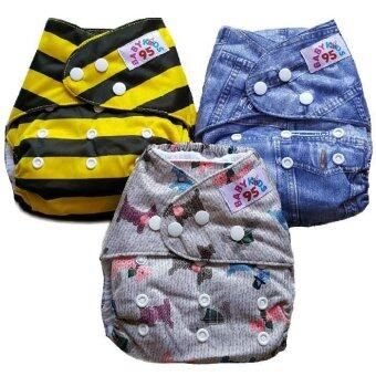 BABYKIDS95 กางเกงผ้าอ้อมเด็ก กันน้ำ รุ่นดีลักส์ ไซส์เด็ก 3-16กก. เซ็ท 3ตัว ลายผึ้ง,ยีนส์,สุนัข