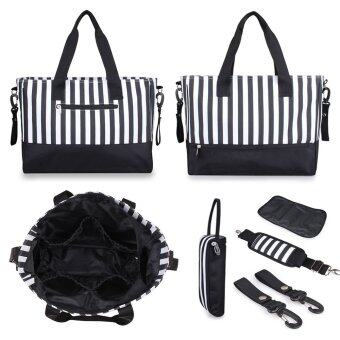 Harga 5 IN 1 Changing Bag Messenger Tote Handbag Large Capacity Baby Diaper Nappy Bag Striped Mummy Bags(Black)
