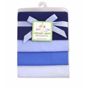 Babyshop656 ผ้าอ้อมอเนกประสงค์ แพค4ผืน ขนาด76x76cm. รุ่นเบอร์4 สีฟ้า / JTY - Blanket pack of 4 No.4 Plain blue