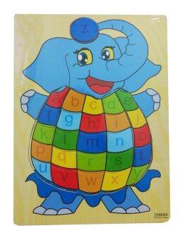 DD Baby ของเล่นไม้ กระดานจิ๊กซอว์ รูปช้าง + ตัวเลข