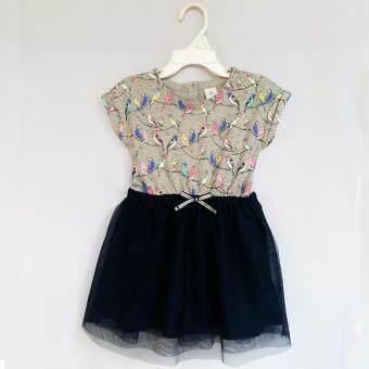 Baby Gap Dress แขนสั้น พิมพ์ลายนกหลากสี สวมใส่สบาย เนื้อผ้ายืดหยุ่นได้ดี ประดับด้วยผ้าโปร่งสีกรมท่าเข้ม