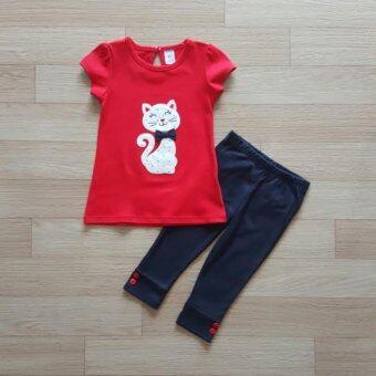 Carter's ชุดเข้าเซ็ท เสื้อสีแดงลายแมว+กางเกงเลคกิ้งสีน้ำ้เงิน