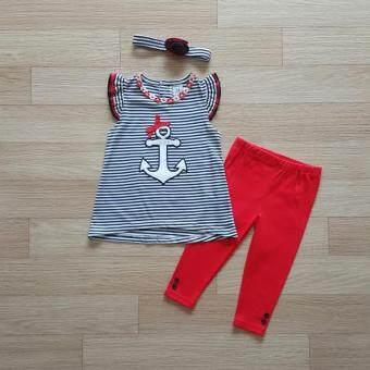 Carter's ชุดเข้าเซ็ท เสื้อลายสมอเรือ+กางเกงเลคกิ้งสีแดง
