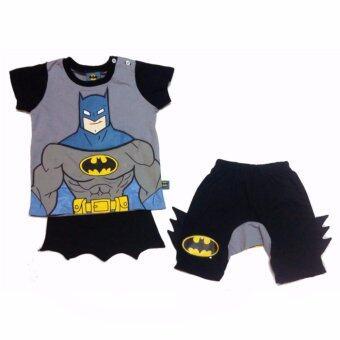 Batman เสื้อผ้าเด็ก ชุดเสื้อและกางเกง มีผ้าคลุมติดด้านหลัง รุ่น - ผ้าฝ้าย 100% - Size S M L XL - A1602
