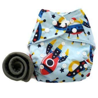 BABYKIDS95 กางเกงผ้าอ้อมกันน้ำ+แผ่นซับชาโคล Size:3-16กก. (Blue Rocket)