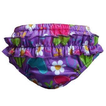 BABYKIDS95 กางเกงว่ายน้ำเด็ก กางเกงผ้าอ้อมว่ายน้ำ มีเป้าซับ เอวสวม สำหรับเด็กผู้หญิง (สีม่วง)