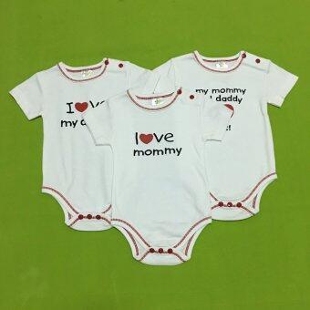 LITTLE BABY M เสื้อผ้าเด็กเล็ก บอดี้สูท set love mom and dad 3ตัว