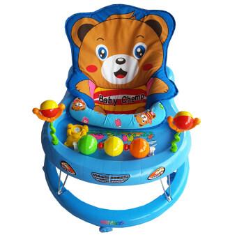 รถหัดเดินเบาะหมี มีดนตรี+ของเล่น (สีฟ้า)